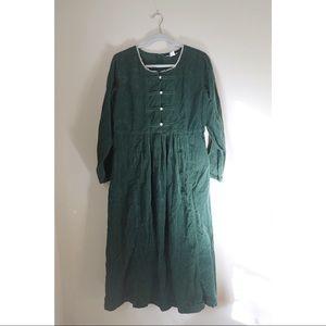 vintage emerald corduroy dress